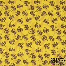 Jersey Coton Elasthanne Imprimé Petit Singe Souriant en Folie fond Banane Jaune