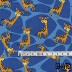 Jersey Coton Elasthanne Imprimé Petite Girafe Souriante en Folie fond Tâcheté Bleu