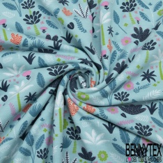 Jersey Coton Elasthanne Imprimé Végétation Sauvage fond Azurin