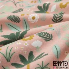 Jersey Coton Elasthanne Imprimé Végétation Sauvage fond Pêche