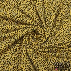 Jersey Coton Elasthanne Imprimé Léopard Noir fond Jaune