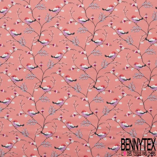 Jersey Coton Elasthanne Imprimé Rouge Gorge sur sa Branche fond Incarnat