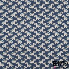 Jersey Coton Elasthanne Imprimé Petit Dinosaure fond Bleu Jean's