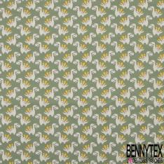 Jersey Coton Elasthanne Imprimé Petit Dinosaure fond Olive