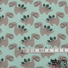 Jersey Coton Elasthanne Imprimé Petit Dinosaure fond Vert d'eau
