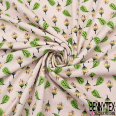 Jersey Coton Elasthanne Imprimé Fleur et Feuille fond Pêche Pastel