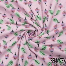 Jersey Coton Elasthanne Imprimé Fleur et Feuille fond Rose Layette