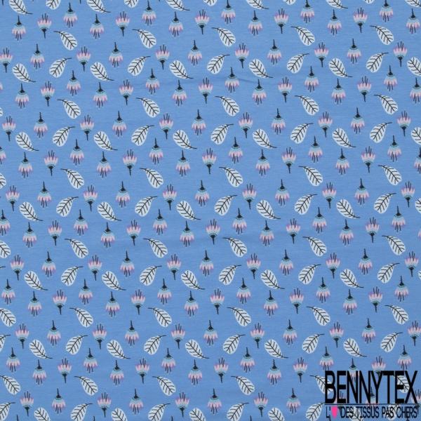 Jersey Coton Elasthanne Imprimé Fleur et Feuille fond Bleu de France
