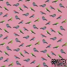 Jersey Coton Elasthanne Imprimé Petit Oiseau Multicolore fond Malabar