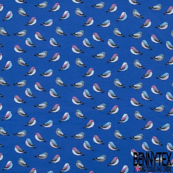 Jersey Coton Elasthanne Imprimé Petit Oiseau Multicolore fond Bleu Roi