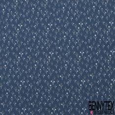 Jersey Coton Elasthanne Imprimé Petit Arbre Stylisé fond Navy