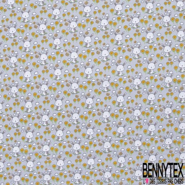Jersey Coton Elasthanne Imprimé Petit Lapin Blanc et Papillon dans Champs de Fleurs fond Gris Pastel