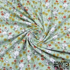 Jersey Coton Elasthanne Imprimé Petit Lapin Blanc et Papillon dans Champs de Fleurs fond Vert Pastel