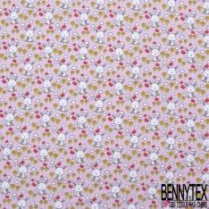 Jersey Coton Elasthanne Imprimé Petit Lapin Blanc et Papillon dans Champs de Fleurs fond Rose Pastel