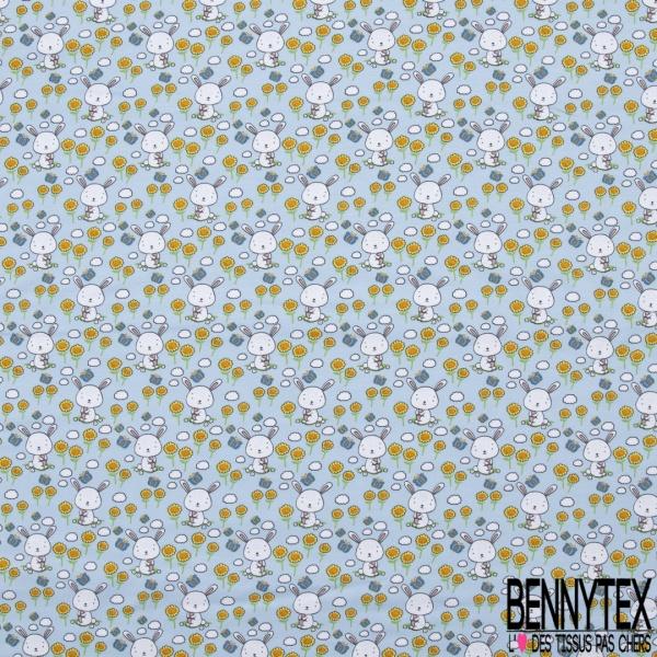 Jersey Coton Elasthanne Imprimé Petit Lapin Blanc et Papillon dans Champs de Fleurs fond Bleu Pastel