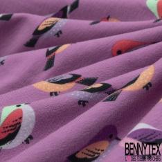 Jersey Coton Elasthanne Imprimé Petit Oiseau Multicolore fond Orchidée
