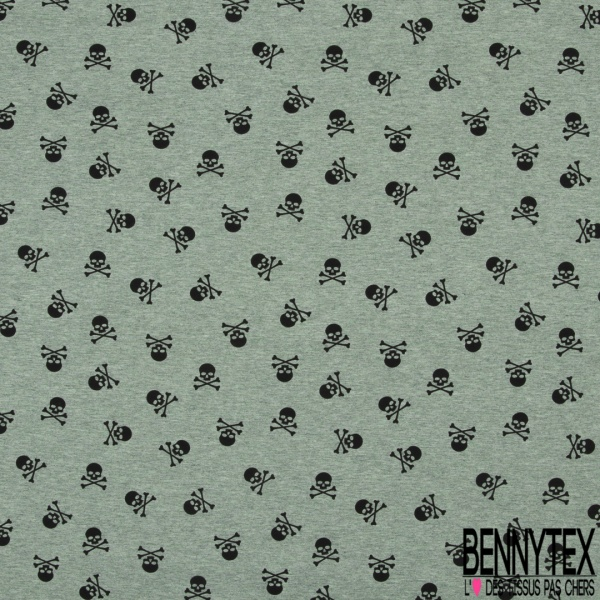 Jersey Coton Elasthanne Imprimé Petite Tête de Mort Noir fond Olive Chiné