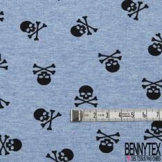 Jersey Coton Elasthanne Imprimé Petite Tête de Mort Noir fond Indigo Chiné