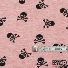 Jersey Coton Elasthanne Imprimé Petite Tête de Mort Noir fond Corail Chiné