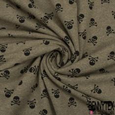 Jersey Coton Elasthanne Imprimé Petite Tête de Mort Noir fond Kaki Chiné