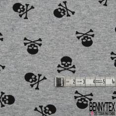 Jersey Coton Elasthanne Imprimé Petite Tête de Mort Noir fond Souris Chiné
