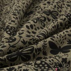 Jersey Coton Elasthanne Imprimé Papillon Virevoltant dans la Nature fond Kaki Chiné