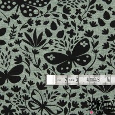 Jersey Coton Elasthanne Imprimé Papillon Virevoltant dans la Nature fond Olive Chiné