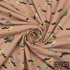 Jersey Coton Elasthanne Imprimé Petit Oiseau Multicolore fond Saumon