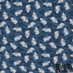 Jersey Coton Elasthanne Imprimé Petit Hippopotame Souriant en Folie fond Tâcheté Bleu