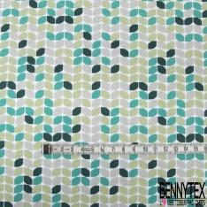 Jersey Coton Elasthanne Imprimé Seventies ton Vert Emeraude Gris fond Blanc