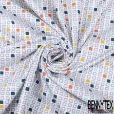 Jersey Coton Elasthanne Imprimé Seventies ton Tilleul Emeraude Gris fond Blanc