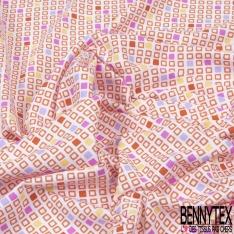Jersey Coton Elasthanne Imprimé Petit carré Rose Vide et Plein ton Chaud fond Blanc