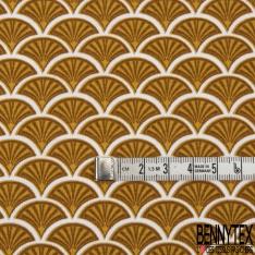 Jersey Coton Elasthanne Imprimé Doucet ton Miel fond Blanc