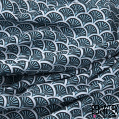 Jersey Coton Elasthanne Imprimé Doucet ton Bleu Céruléen fond Blanc