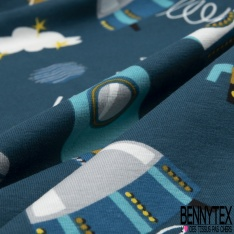 Jersey Coton Elasthanne Imprimé Fusée de l'Espace Planète Comète fond Pétrole