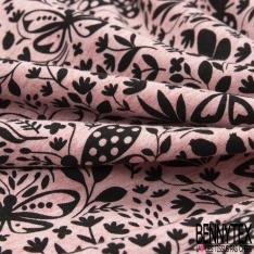 Jersey Coton Elasthanne Imprimé Papillon Virevoltant dans la Nature fond Corail Chiné