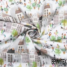 Coton imprimé Ballade dans les rues de Paris fond Blanc