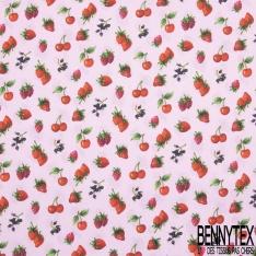 Coton imprimé Desert de Figuier de Barbarie Multicolore fond Blanc