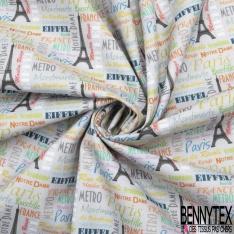 Coton imprimé Thème Paris Texte Multicolore fond Taupe Pastel