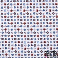 Coton imprimé Thème Bulle Marin Ancre Pompon Boussole Vague fond Blanc