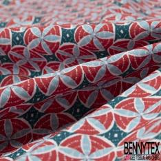 Coton imprimé Thème Rosace Elliptique ton Rouge Ciel fond Blanc Pétrole Fantaisie