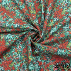 Coton imprimé Digital Thème Motif Petite Rosace Seventies Psychédélique ton Orange