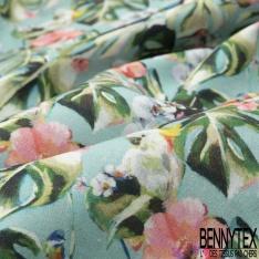 Coton imprimé Digital Thème Bouquet Floral Rouge Stylisé fond Bleu Glacier