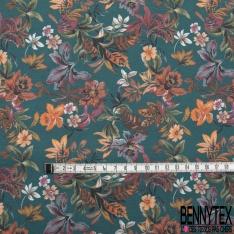 Coton imprimé Digital Motif Floral Cachemire fond Ocre