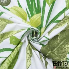 Toile Coton Imprimé esprit Toile de Jouy Lie de Von fond Naturel