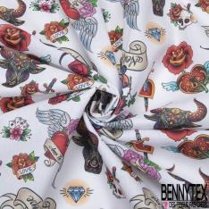 Coton imprimé Digital Motif Tatouage Tête de Mort fond Blanc