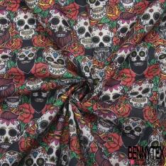 Coton imprimé Digital Motif Calaveras en Fête fond Noir avec Rose Stylisée