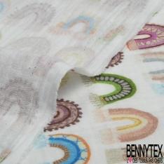 Coton Double Gaze Imprimé Digital Tâche de Girafe fond Blanc