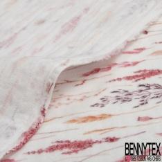 Coton Double Gaze Imprimé Digital petit Arc en Ciel Rigolo fond Blanc