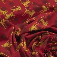 Jersey Coton Elasthanne Imprimé Petit Guépard Souriant en Folie fond Tâcheté Rouge
